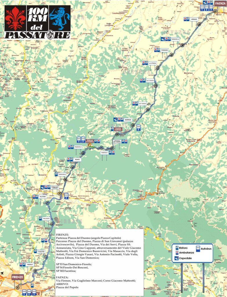 Mappa del percorso della 100 chilometri del Passatore